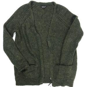 Topshop Mohair Moss Green Slouchy Sweater Cardigan